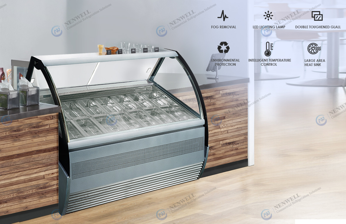 NW-QD12 Commercial Small Ice Cream Display Fridge Showcase Price For Sale