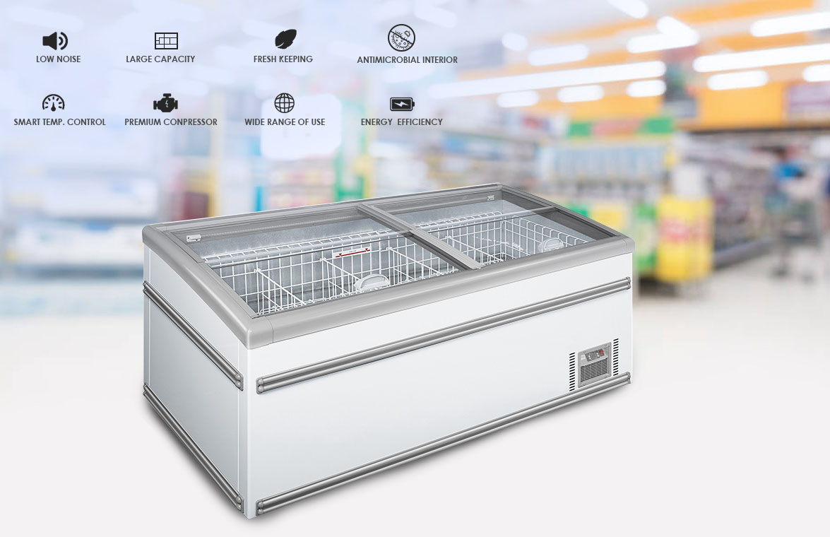 NW-WD2100 Grocery Store Plug-In Deep Freeze Storage Island Display Freezer Price For Sale | factory and manufacturers