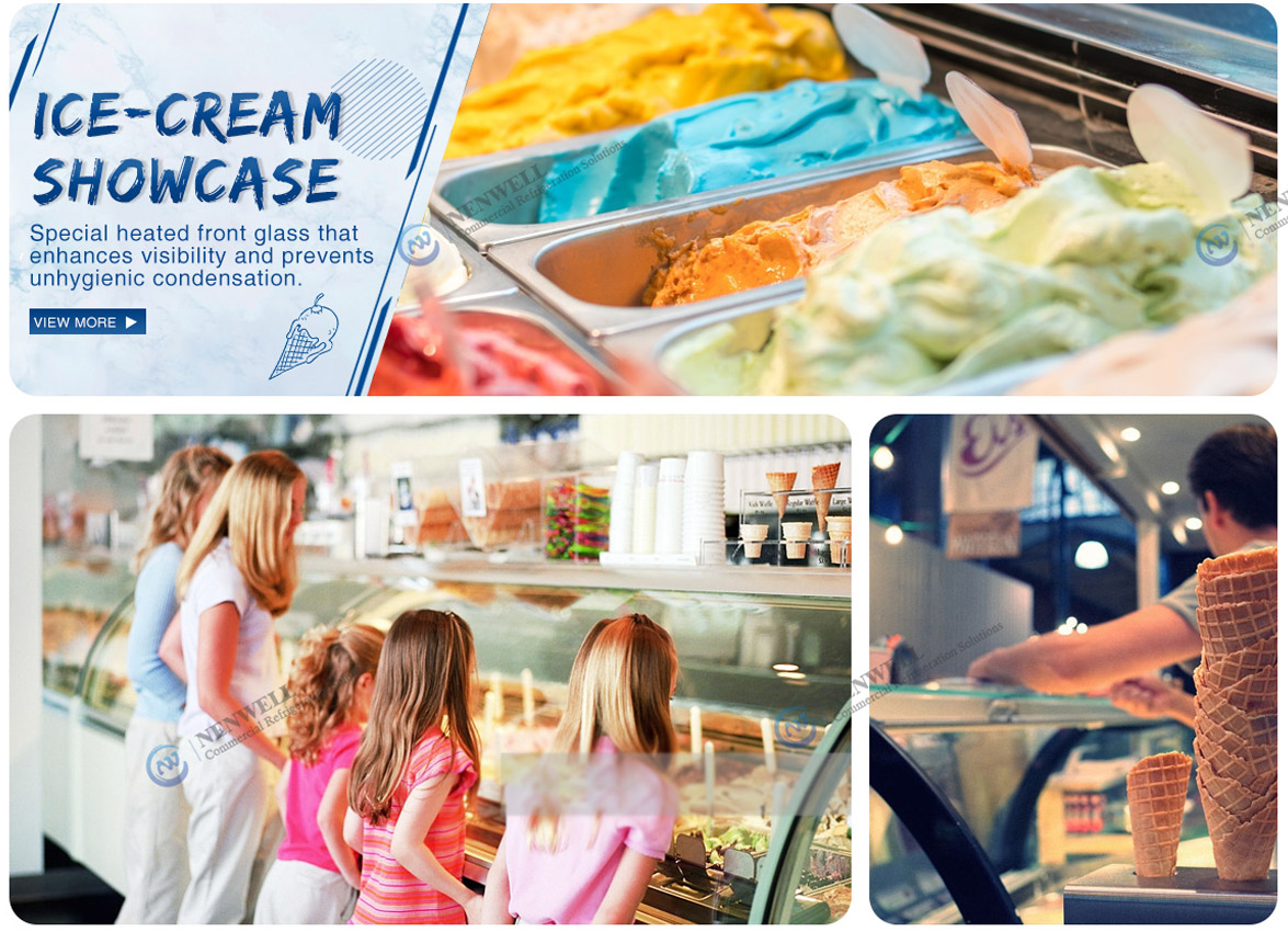 Applications   NW-QD12 Commercial Small Ice Cream Display Fridge Showcase Price For Sale