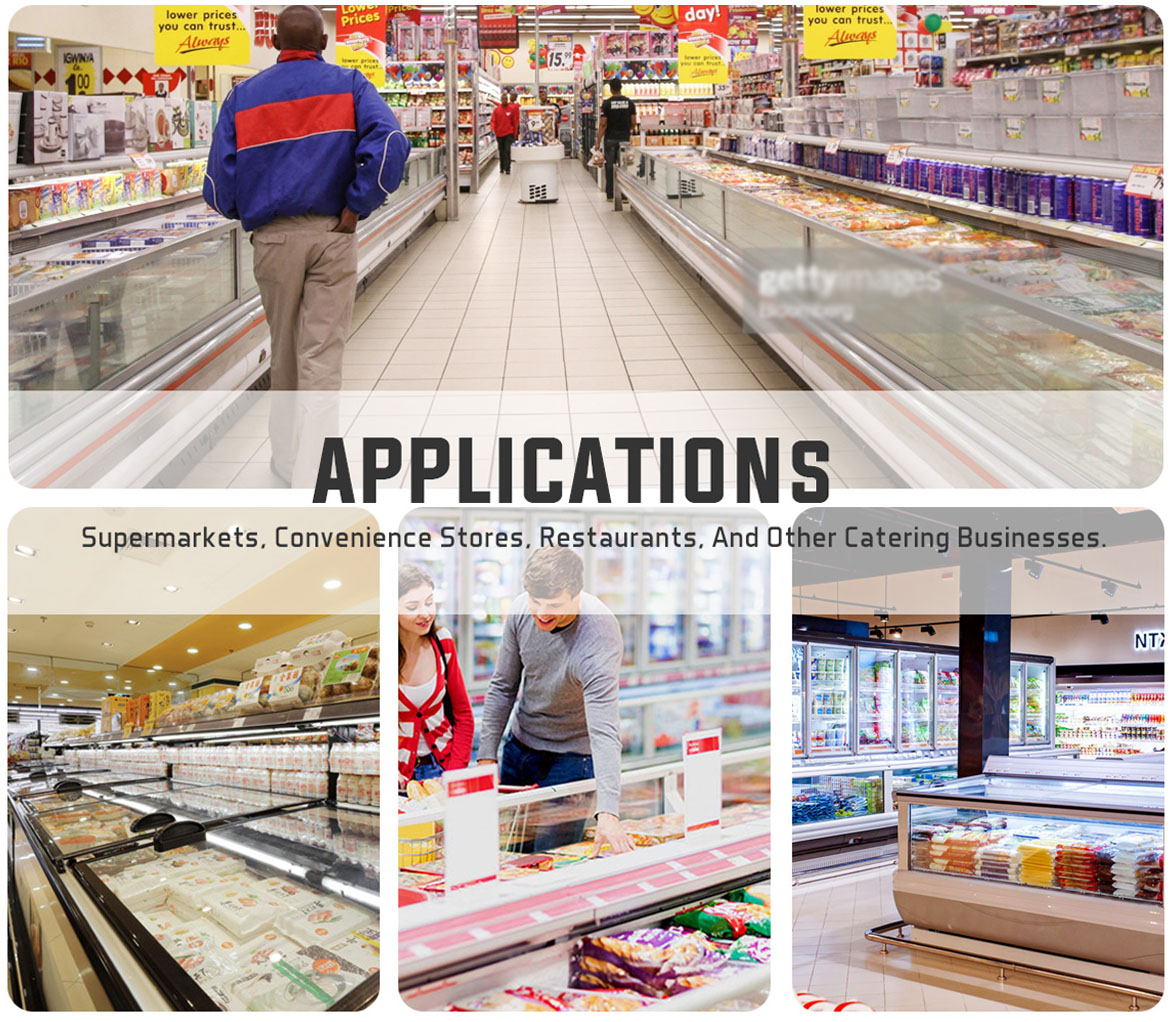 Applications | NW-WD2100 Grocery Store Plug-In Deep Freeze Storage Island Display Freezer Price For Sale | factory and manufacturers